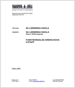 SA Läänemaa Haigla funktsionaalse arengukava II etapp