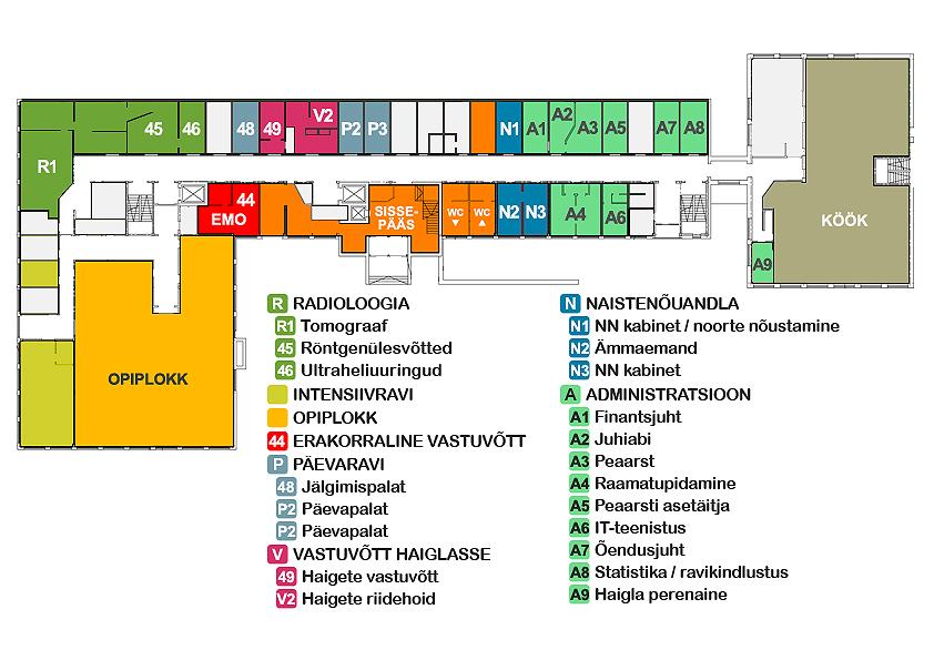 Haigla esimese korruse asendiplaan